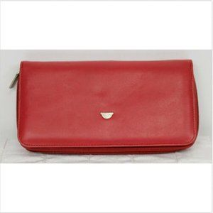 Tony Perotti Italian Leather Red Wallet Multi-Zip